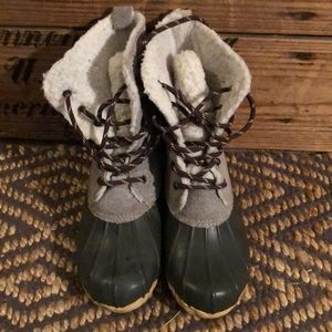 Gray duck boots